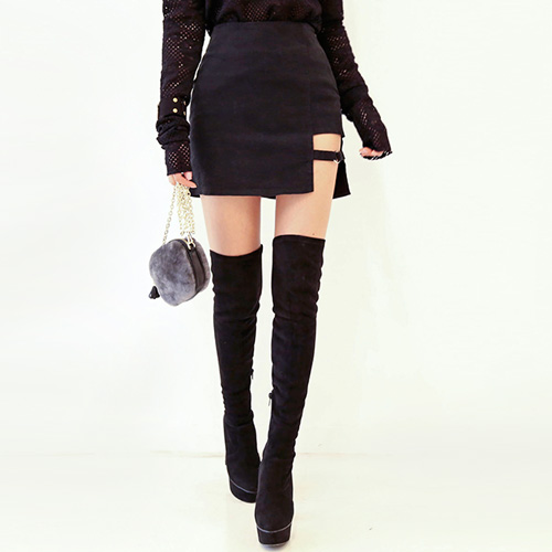 Dabagirl Cutout Ring H-Line Mini Skirt