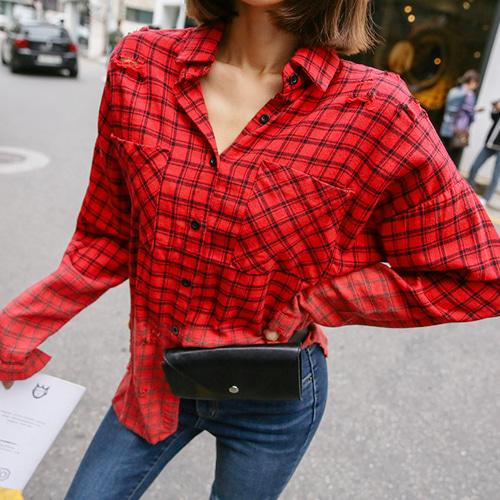 Dabagirl Chest Pocket Distressed Check Shirt