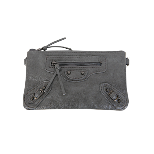 Dabagirl Stud Detail Faux Leather Clutch Bag