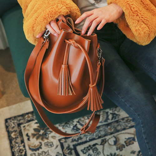 Dabagirl Tassel Faux Leather Bucket Bag