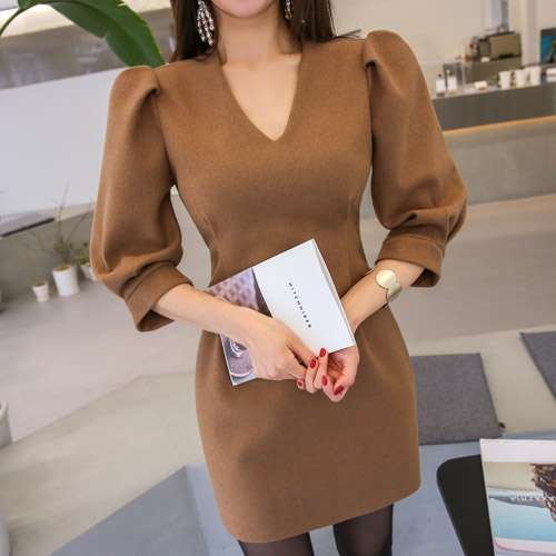 Dabagirl Deep V-Neck Puff Sleeve Dress