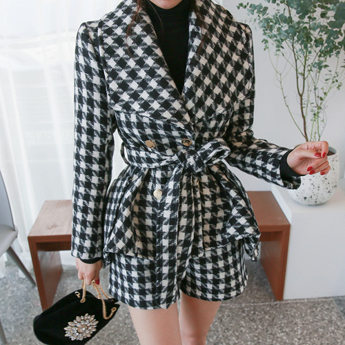 Dabagirl Double Breasted Houndstooth Jacket and Shorts Set