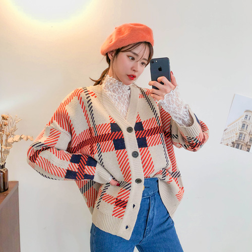 Dabagirl Loose Fit Check Cardigan