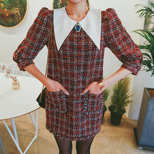Dabagirl Contrast Collar Tweed Dress