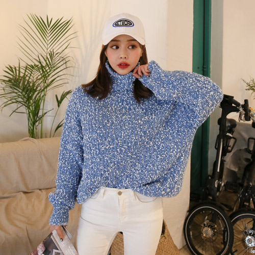 Dabagirl Turtleneck Loose Fit Knit Top