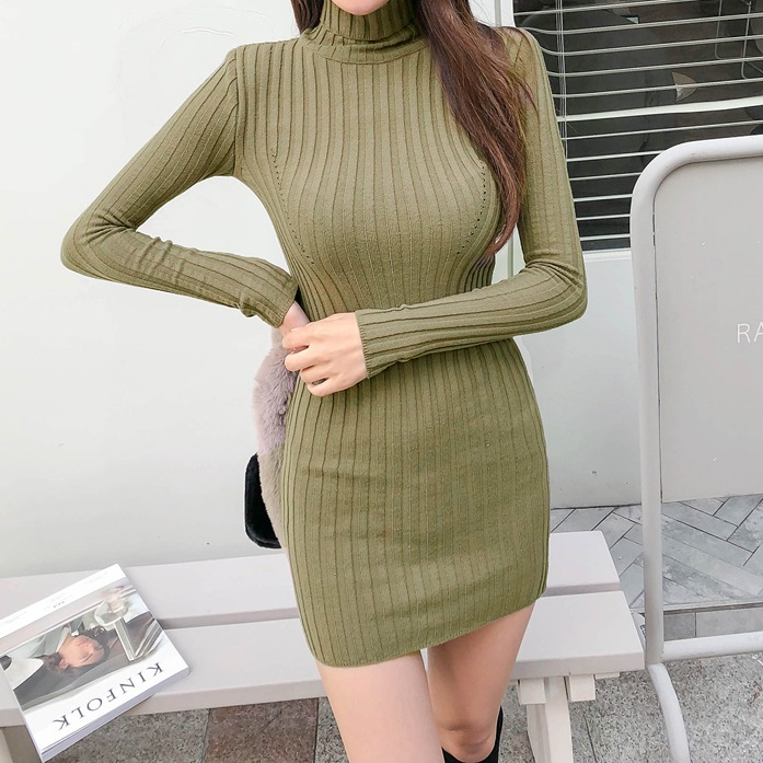 Dabagirl Turtleneck Ribbed Dress