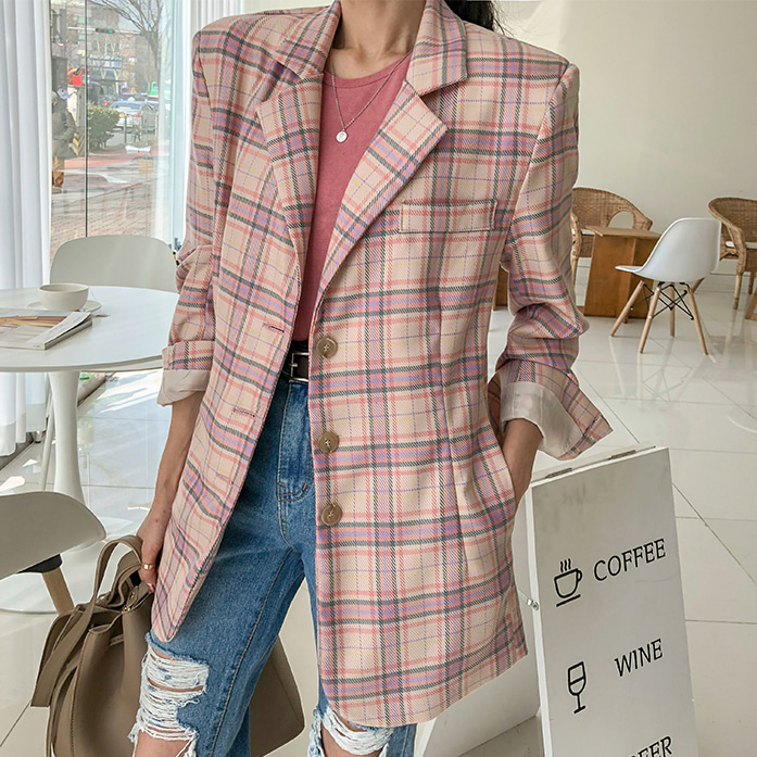 Dabagirl Single-Breasted Check Pattern Jacket