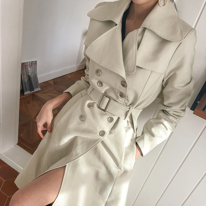 Dabagirl Belted Double-Breasted A-Line Coat
