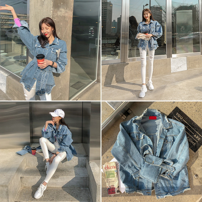 Dabagirl Distressed Belted Denim Jacket