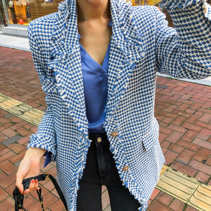 Dabagirl Collared Frayed Tweed Jacket