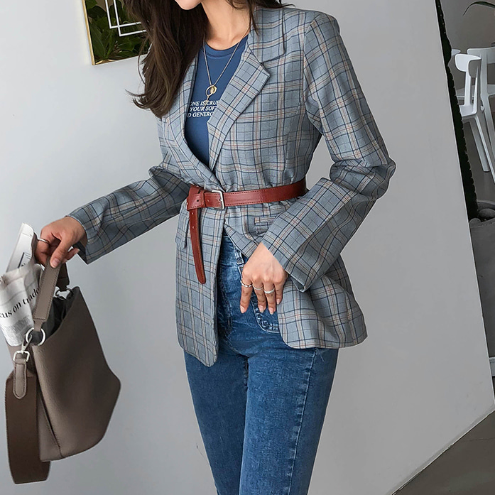 Dabagirl Single Button Check Jacket