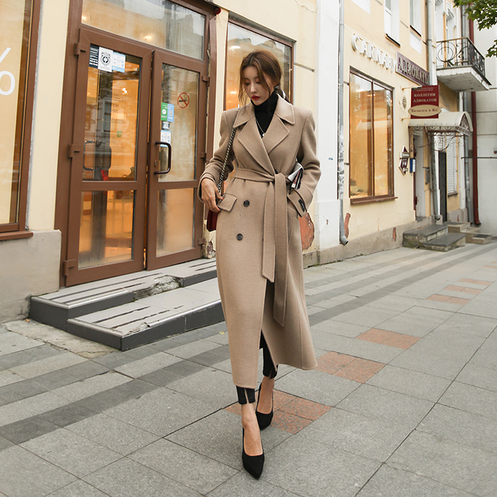 Dabagirl Double-Breasted Woolen Long Coat