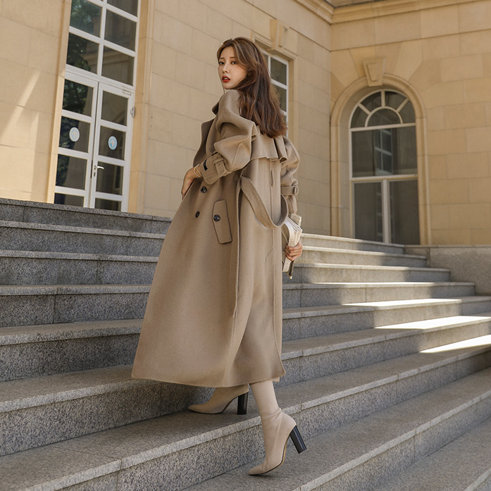 Dabagirl Woolen Double-Breasted Trench Coat