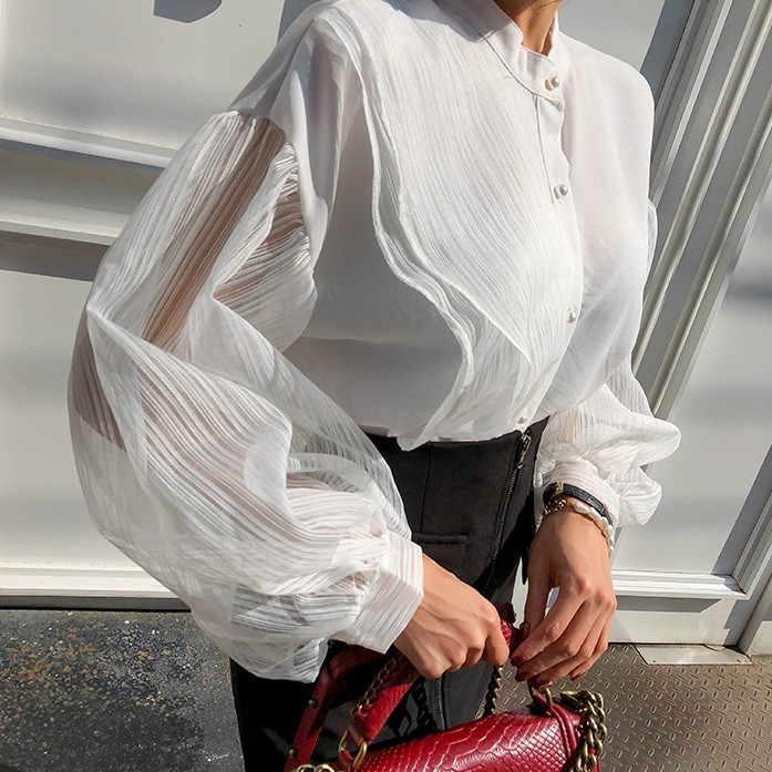 Dabagirl Sheer Bishop Sleeve Blouse