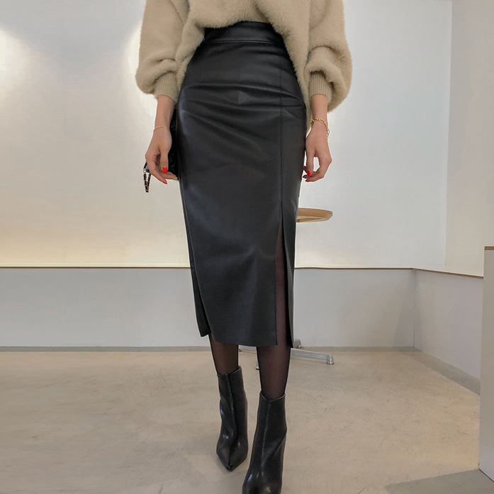 Dabagirl Faux Leather Midi Slit Skirt