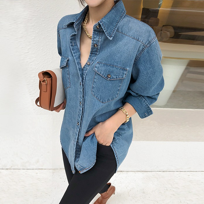 Dabagirl Curved Hem Loose Fit Denim Shirt