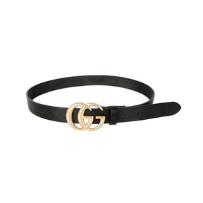 Dabagirl Metallic Letter Buckle Leather Belt