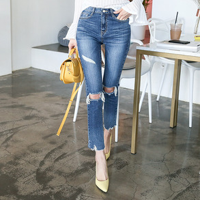 Dabagirl Mid-Rise Distressed Slim Fit Jeans