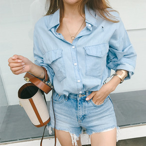 Dabagirl Distressed Oversized Denim Shirt
