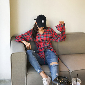 Dabagirl Tie-Waist Wide Sleeve Loose Fit Check Shirt