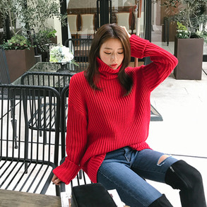 Dabagirl Turtleneck Extended Sleeve Knit Top