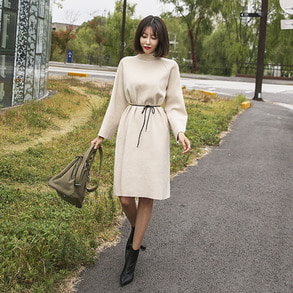 Dabagirl Tie-Waist Mock Neck Dress