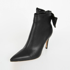 Dabagirl Ribbon Detail Back Faux Leather Ankle Boots