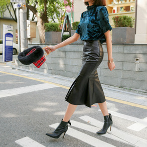 Dabagirl Faux Leather Pleated Hem Skirt