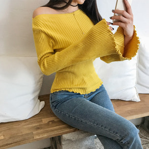 Dabagirl Boat Neck Bell Sleeve Ribbed Knit Top