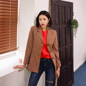 Dabagirl Notched Collar Check Blazer