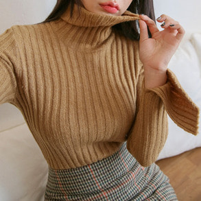 Dabagirl Slit Sleeve Ribbed Turtleneck Knit Top