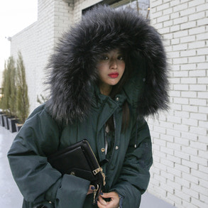Dabagirl Authentic Racoon Fur Hooded Puffer Coat