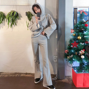 Dabagirl [SET] Fleece Lined Hoodie and Bootcut Pants Set