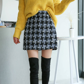 Dabagirl Tweed Check Mini Skirt