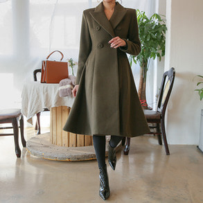 Dabagirl Double Breasted Flare Coat