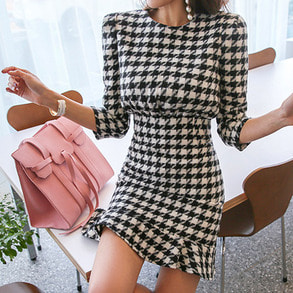 Dabagirl Frilled Hem Houndstooth Dress