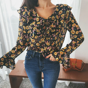 Dabagirl Frilled Collar Floral Blouse