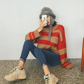 Dabagirl Chest Pocket Stripe Knit Top