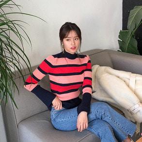 Dabagirl Bell Sleeve Stripe Knit Top