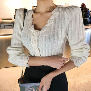 Dabagirl Lace Embellished Puff Shoulder T-Shirt