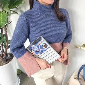 Dabagirl Contrast Color Turtleneck Knit Top
