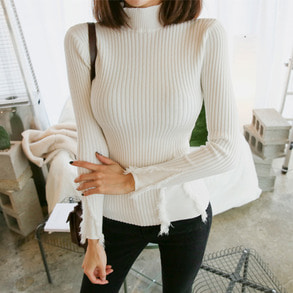 Dabagirl Mock Neck Ribbed Knit Top