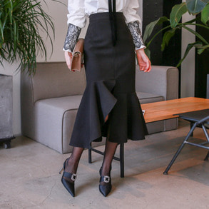 Dabagirl Frilled Slit Hem Skirt