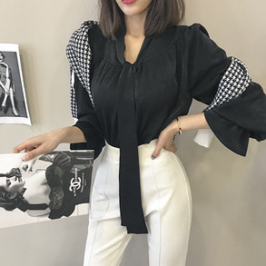 Dabagirl Ribbon Tie Bell Sleeve Blouse