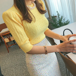 Dabagirl Cable Puff Shoulder Knit Top