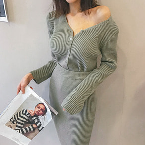 Dabagirl Ribbed Cardigan and Midi Skirt Set