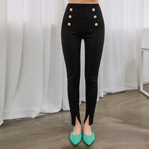 Dabagirl Gold Button Front Slit Pants