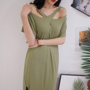 Dabagirl Cross Slit Neck Dress