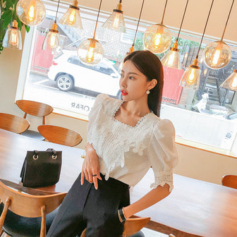 Dabagirl Square Neck Lace Blouse