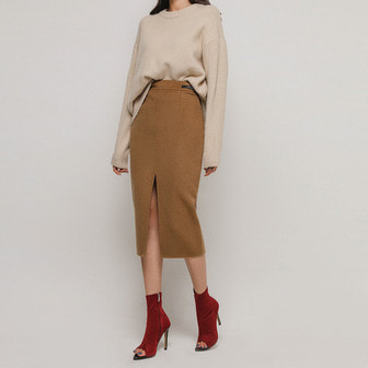 Dabagirl Woolen Midi Pencil Skirt